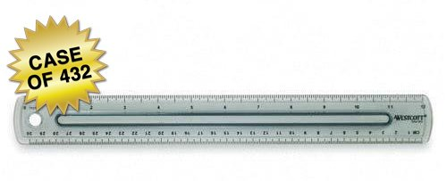 Westcott Finger Grip Ruler, Smoke Plastic, Inches and Metric, 12-Inch, Case of 432 (00402)