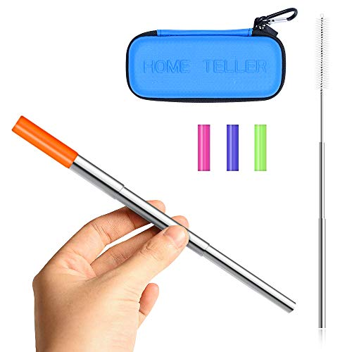 Reusable Straws Stainless Steel Straws Metal Straws Collapsible Straw Portable Straw Foldable Straw Telescopic Folding Adjustable Straw with Case Holder Keychain and Cleaning Brush(Blue Straws case)