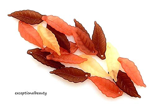 120 Assorted 20x3mm Frosted Autumn Fall Leaf Leaves Lucite Bead Drop Charms