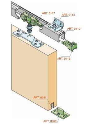 Schiebetürbeschlag  SCHIEBETÜRBESCHLAG Bausatz +Schiene 300cm elox. mit 6 Winkel für ...