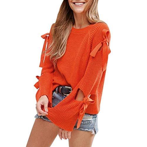 Clearance! Teresamoon Women Solid Long Sleeve Loose Knitted Sweater Jumper Knitwear Outwear by Teresamoon-Shirt