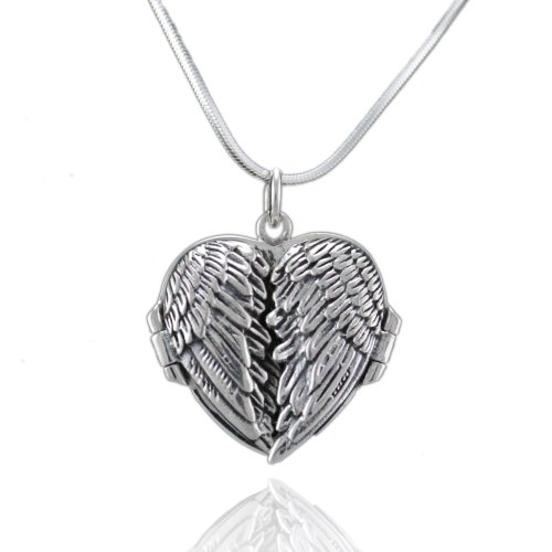 Sterling Silver 925 Angel Wings Flying Heart Locket Pendant Necklace,18