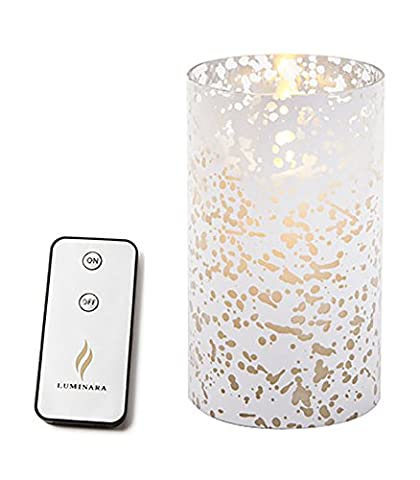 Luminara Flameless Candle - Silver Mercury Glass Cylinder - Bundle with Remote Control (Remote Cylinder)