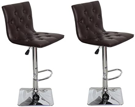 US Pride Furniture Ellie Adjustable Swivel Bar Stools, Set of 2, Chocolate