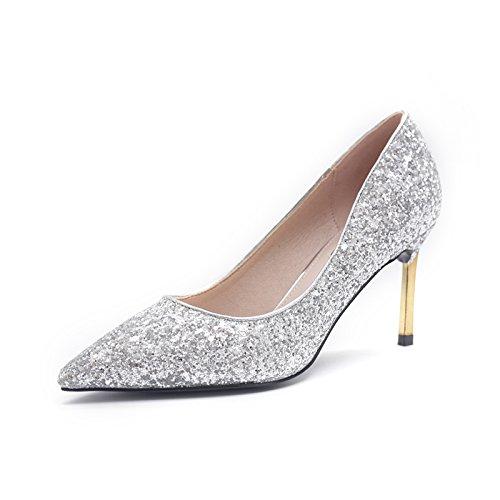 De Mujer GAOLIM Novia Rojo Boda Zapatos de Zapatos Rojos Zapatos plata Plata Zapatos centímetros Fuerte 7 Glitter Zapatos De Con Fina Solo Tacón De Banquete rXRXt