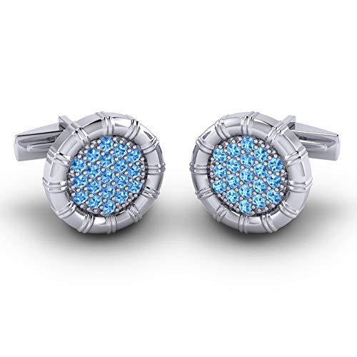 Azeera NAVIKA Cufflinks 14k White Gold with Swiss Blue Topaz -