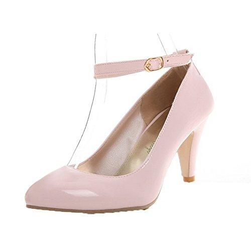 Flats Pelle di Medio Fibbia Tonda Maiale Ballet Punta VogueZone009 Rosa Tacco Donna IqXvWHXw