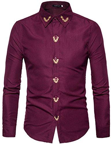 Sexymee Men's Slim Fit Non-Iron Herringbone Point Collar Dress (Herringbone Long Sleeve Dress Shirt)