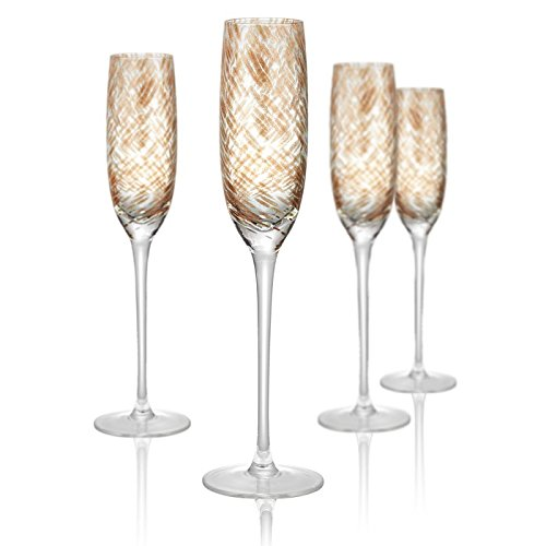 Artland Misty Flute Glass, Set of 4, 5 oz, Clear (Copper Champagne Flutes)