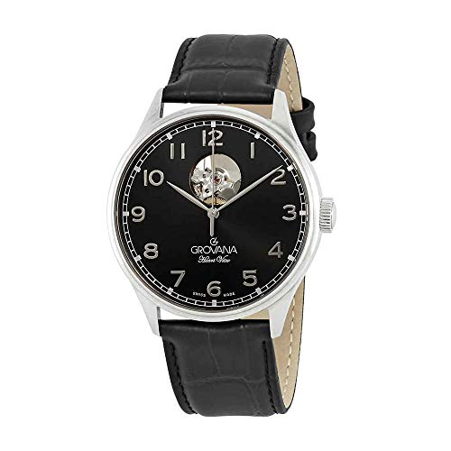 Grovana Mens Black Face 42MM Swiss Automatic Black Leather Strap Watch 1190.2597