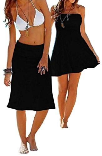 BD04 Sexy Bikini Swimwear Party dress, convertible multi-purpose Cover-ups Wrap Beach Dress/Skirt (L, #1 Black)