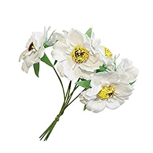 Walmeck 6Pcs/Bunch 3.5cm Mini Silk Cherry Artificial Poppy Bouquet DIY Handmade Wreath Scrapbook Wedding Decoration Craft Fake Flower 23
