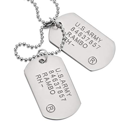 COOLSTEELANDBEYOND Satin Two-Pieces Mens Military Army Dog Tag Pendant Necklace with 28 inches Ball Chain