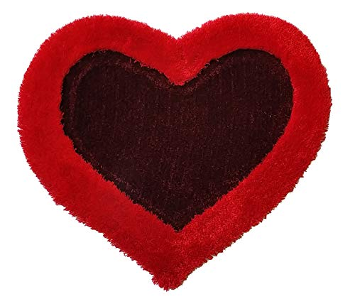 (New 3D Heart Shape Soft and Smooth Shaggy Rug 100cmx100cm (786) (Red))