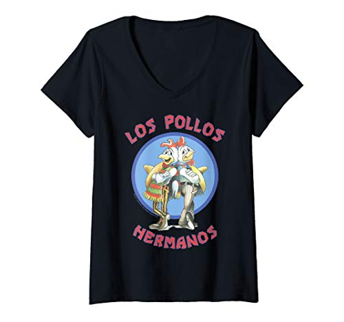 Womens Breaking Bad Los Pollos Hermanos Back To Back Portrait Logo V-Neck T-Shirt (Breaking Bad Women Tshirt)