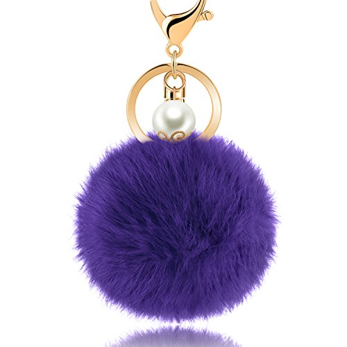 JOUDOO Rabbit Fur Ball Keychain Pom Pom Keyring with Pearl GJ013