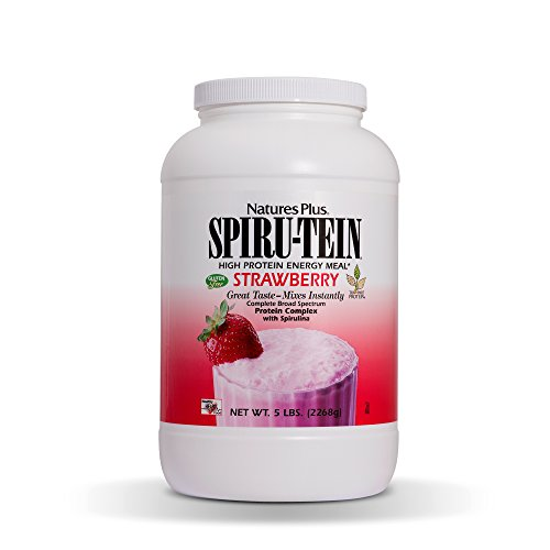 Natures Plus Spirutein Shake – Strawberry Flavor – 5 lbs, Spirulina Protein Powder – Plant Based Meal Replacement, Vitamins & Minerals for Energy – Vegetarian, Gluten Free – 67 Servings