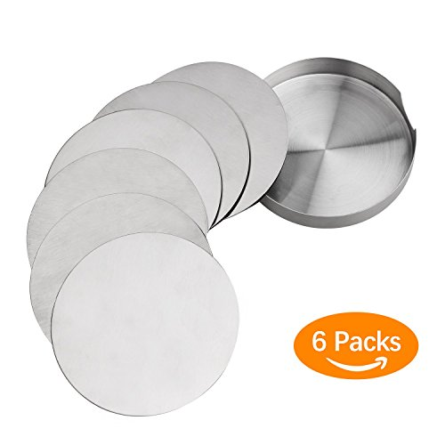 Coasters for Drinks, Set of 6 Stainless Steel Round Coaster With EVA Back, Eco-friendly, Reusable, Heat-Resistant Drink Coasters for Office Home To Protect Furniture Water Stains and Scratched (6)