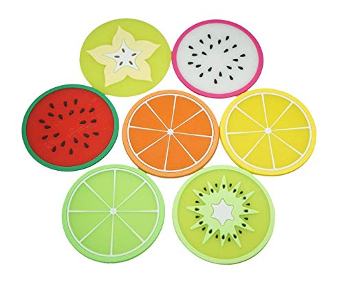 LY-ONE 7pcs Non-slip Colorful Silicone Fruit Coasters