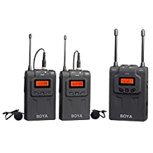 BOYA BY-DTUM48C UHF Dual-Channel Wireless Lavalier Microphone System with 48 Channels with Gooseneck Microphone for Canon Nikon ENG EFP DSLR Cameras Sony RX0 Camcorders