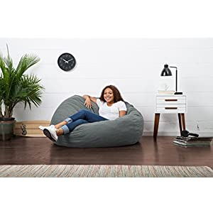Big Joe Large Fuf Foam Filled Bean Bag Chair, Comfort Suede, Steel Grey