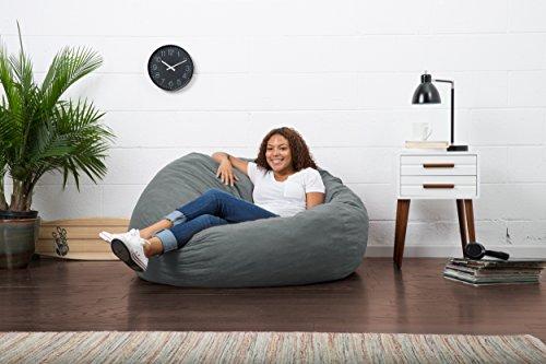 Big Joe Large Fuf Foam Filled Bean Bag Chair, Comfort Suede, Steel Grey