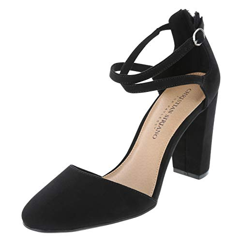 Christian Siriano for Payless Black Suede Women's Kam Cross Strap Pump 11 Regular