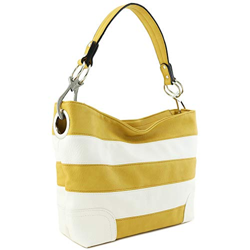 Shoulder Zipper - Hobo Shoulder Bag with Big Snap Hook Hardware (Yellow/White)