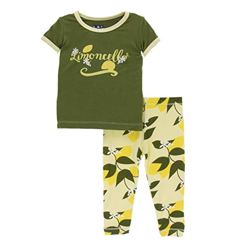 (Kickee Pants Little Girls Print Short Sleeve Pajama Set - Lime Blossom Lemon Tree,)