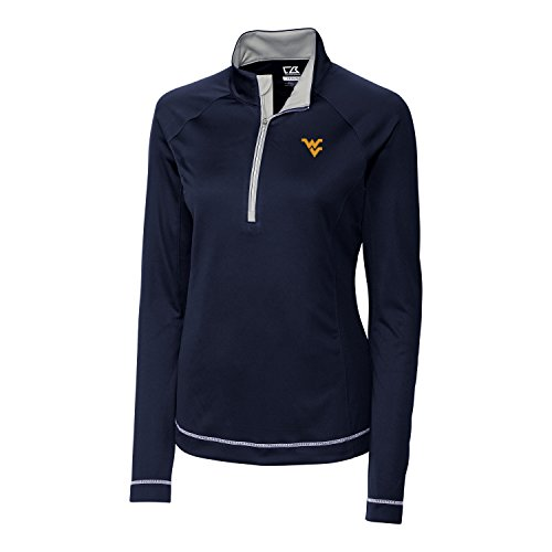 NCAA West Virginia Mountaineers Women's Long Sleeve Evolve Half Zip Jacket, Navy Blue, (Mountaineer Zip)