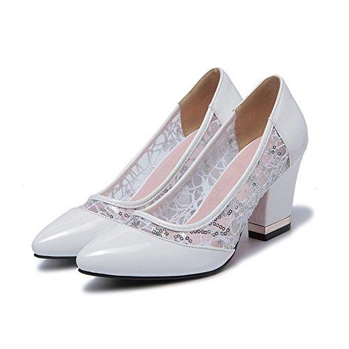Solidi Allhqfashion scarpe Sulla Pompe Tacchi Indicata Punta Bianche Femminile Tiro Chiuso P61qAP