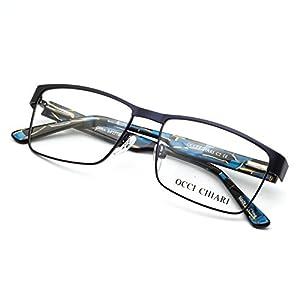 OCCI CHIARI Men Rectange Optical Eyewear frames With Clear Lenses(BLUE, 54)
