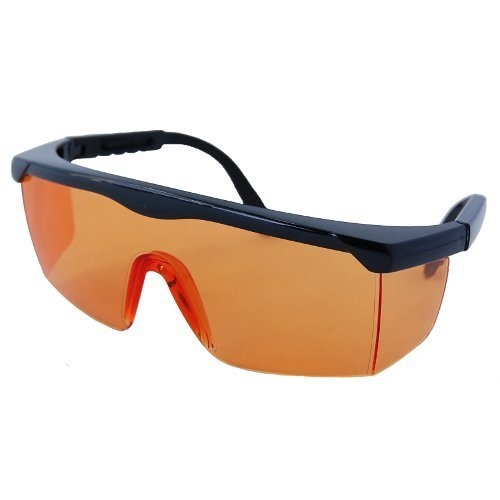 HQRP UV Protective Orange Tint Safety Glasses for Woodworking - Sawing, Cutting, Chipping, Drilling, Grinding, Sanding, Polishing, Machining + HQRP UV Meter
