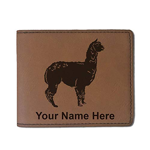 Faux Leather Wallet, Alpaca, Personalized Engraving Included (Dark Brown) (Wallet Peru)