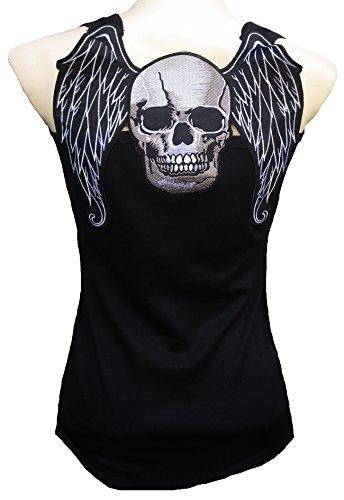 Rockabilly Punk Rock Baby donna Designer canottiera da Biker Skull vintage-bohemien gotico teschio Nero Tattoo Design