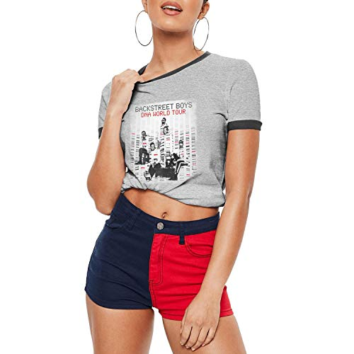 Dmamgk loang Lady's Fitted Casual O Neck Ringer T-Shirts