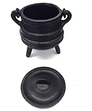 candle holder ritual purpose decoration ideal for smudging etc. Cast Iron Cauldron w//handle 4 Diameter Handle to Handle, 2.5 Inside Diameter incense burning