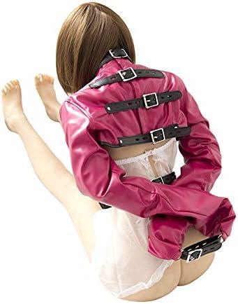 RWSX Camisa de Fuerza de Cuero Bondage con la muñeca restricciones, Brazo y Mano en el Pecho restricciones, el Sistema de sujeción Ajustable, SM Esclavo Fetiche Juguetes Adultos (Color : Pink): Amazon.es:
