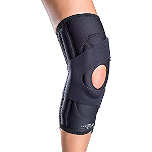DonJoy Lateral J Patella Knee Support Brace with Hinge: Neoprene, Left Leg, Medium