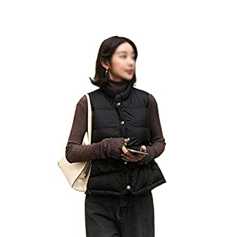 LUKEEXIN Women's Winter Short Sleeveless Vest Coat Collar Down Jacket (Color : Black, Size : S)