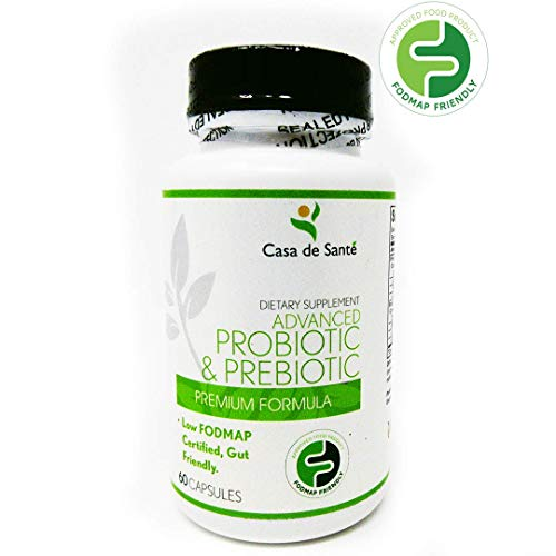 Probiotic and Prebiotic Dietary Supplement, Low FODMAP Diet Certified for IBS Relief, Dairy Free, Vegan, Soy and Gluten Free, Non-GMO Probiotic Supplement for Men and Women - Casa de Sante (60 Caps)
