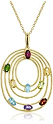 Yellow Gold-plated Silver Multi-gem Tiered Oval Pendant Necklace, 18""