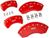 MGP Caliper Covers 17112SMGPRD Caliper Cover (Red Powder Coat Finish, Engraved Front and Rear: MGP, Silver Characters, Set of 4)