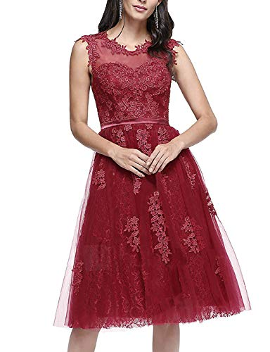 Miao Duo Women's Vintage Knee-Length Lace Applique Cocktail Bridesmaid Dress Tulle Formal Party Gowns Burgundy 16