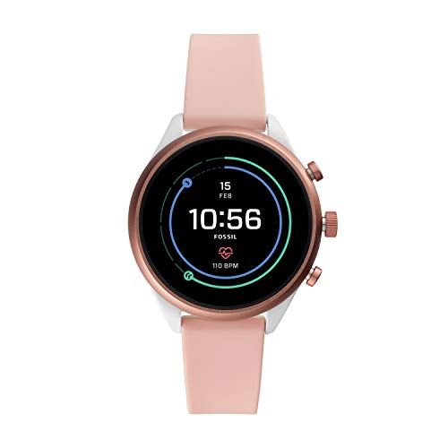 Fossil Women's Gen 4 Sport Heart Rate Metal and Silicone Touchscreen Smartwatch, Color:Blush Pink (FTW6022)