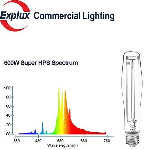 Optimized PAR Spectrum//Output//Maintenance High Pressure Sodium Lamps Explux Professional Super HPS 600W Grow Light Bulbs 2-Pack