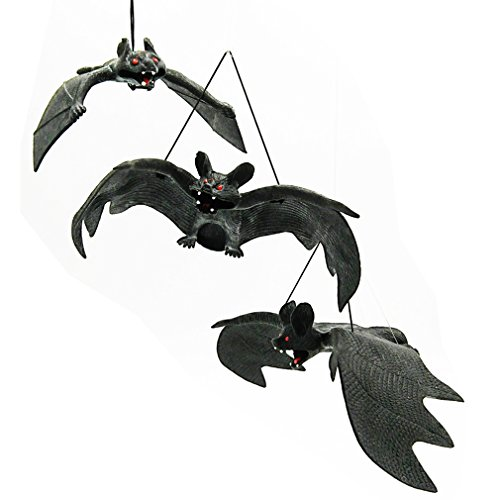 Tofantifer Halloween Décor Realistic Looking Rubber Spooky Hanging Bats Set of 3 for Halloween Party Favors and Decoration for $<!--$9.99-->