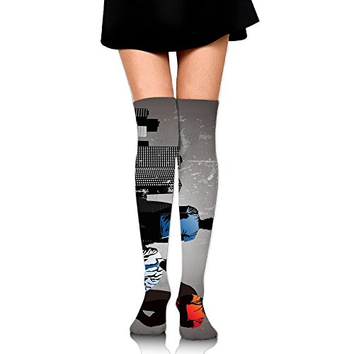 Man In Street Over The Knee Long Socks Tube Thigh-High Sock Stockings For Girls & Womens -