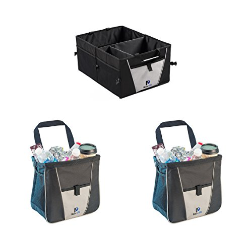 Auto Trash Can and Car Tote Set - Busy Life Vehicle Trash Can and Trunk Caddy Work Great for Keeping Your Vehicle Clean and Tidy. Always Be Prepared with Foldable Storage. (3 Units)