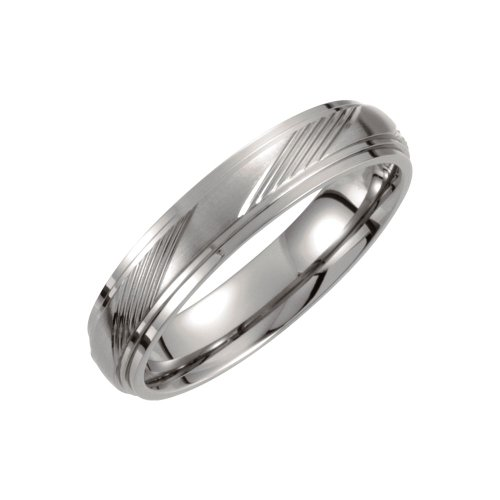 (Jewels By Lux Titanium 5mm Ridged Wedding Ring Band Size 9)